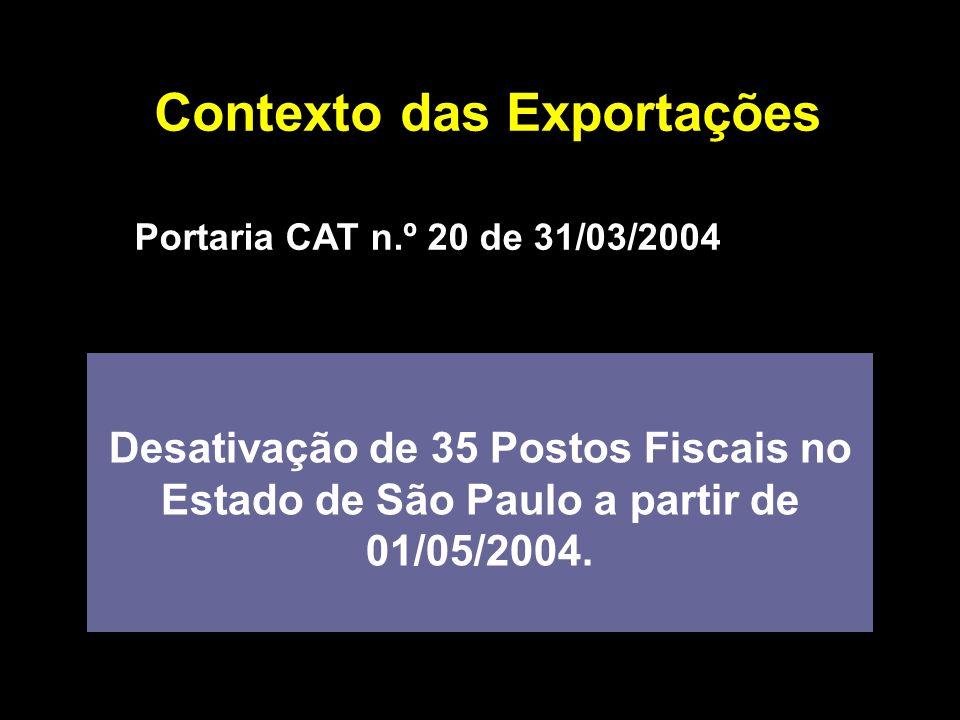 Contexto das Exportações Portaria CAT n.º 20 de 31/03/2004 Desativação de 35 Postos Fiscais no Estado de São Paulo a partir de 01/05/2004.