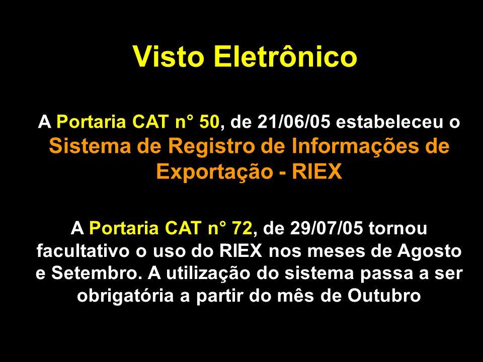 Visto Eletrônico A Portaria CAT n° 50, de 21/06/05 estabeleceu o Sistema de Registro de Informações de Exportação - RIEX A Portaria CAT n° 72, de 29/07/05 tornou facultativo o uso do RIEX nos meses de Agosto e Setembro.