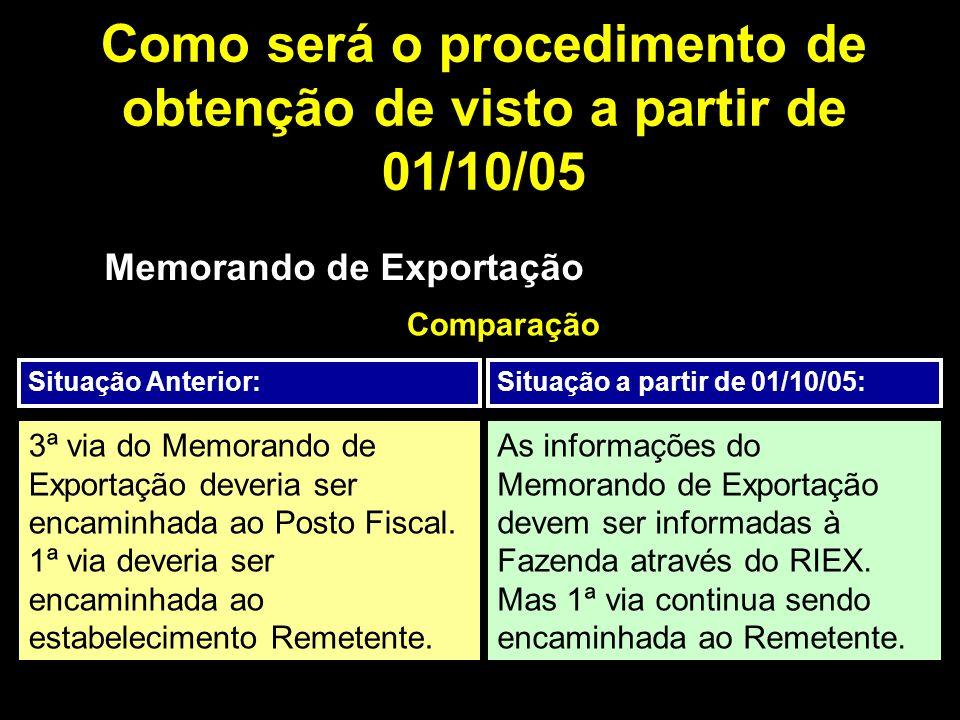 Como será o procedimento de obtenção de visto a partir de 01/10/05 Memorando de Exportação Comparação Situação Anterior:Situação a partir de 01/10/05: 3ª via do Memorando de Exportação deveria ser encaminhada ao Posto Fiscal.