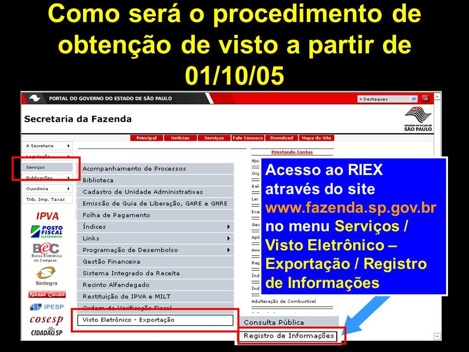 Como será o procedimento de obtenção de visto a partir de 01/10/05 Acesso ao RIEX através do site www.fazenda.sp.gov.br no menu Serviços / Visto Eletrônico – Exportação / Registro de Informações