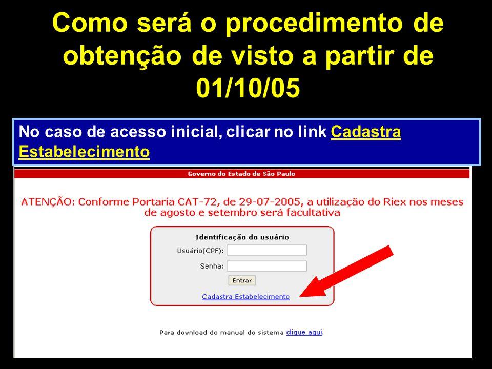 Como será o procedimento de obtenção de visto a partir de 01/10/05 No caso de acesso inicial, clicar no link Cadastra Estabelecimento
