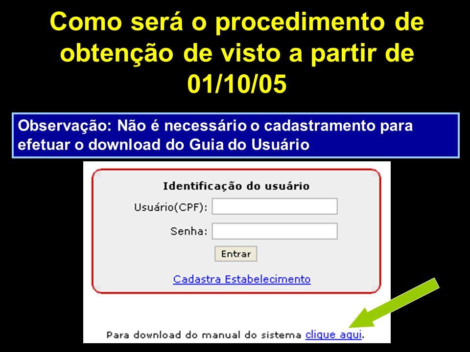 Como será o procedimento de obtenção de visto a partir de 01/10/05 Observação: Não é necessário o cadastramento para efetuar o download do Guia do Usuário