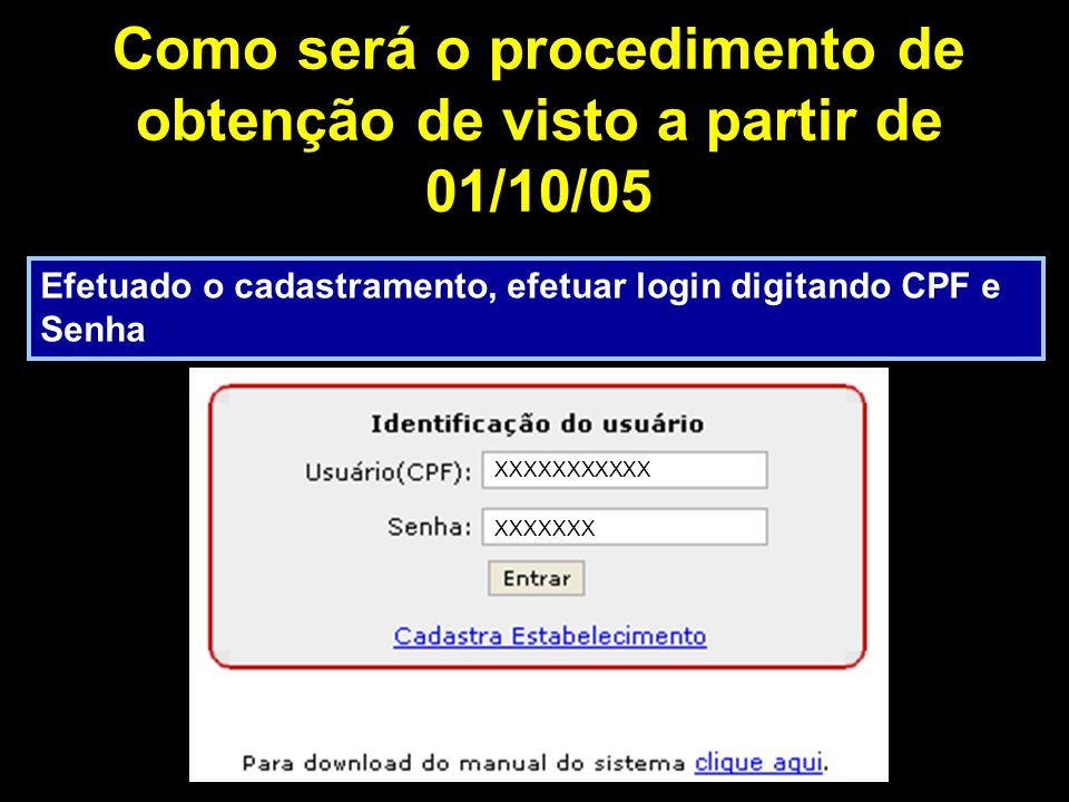 Como será o procedimento de obtenção de visto a partir de 01/10/05 Efetuado o cadastramento, efetuar login digitando CPF e Senha XXXXXXXXXXX XXXXXXX