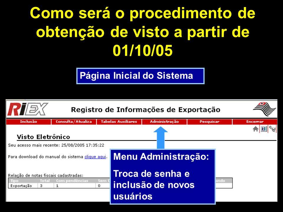 Como será o procedimento de obtenção de visto a partir de 01/10/05 Página Inicial do Sistema Menu Pesquisar: Localiza Notas cadastradas
