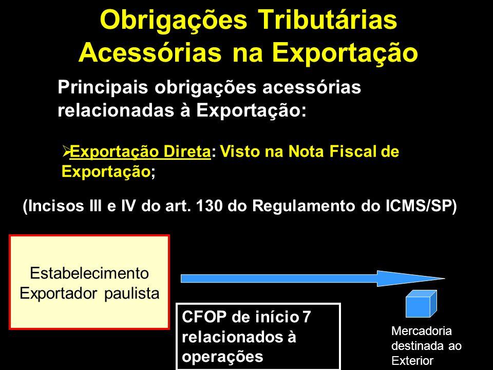 Obrigações Tributárias Acessórias na Exportação Principais obrigações acessórias relacionadas à Exportação: Exportação Indireta: Visto na Nota Fiscal de Remessa de mercadoria com fim específico de exportação (para outro Estado); (art.