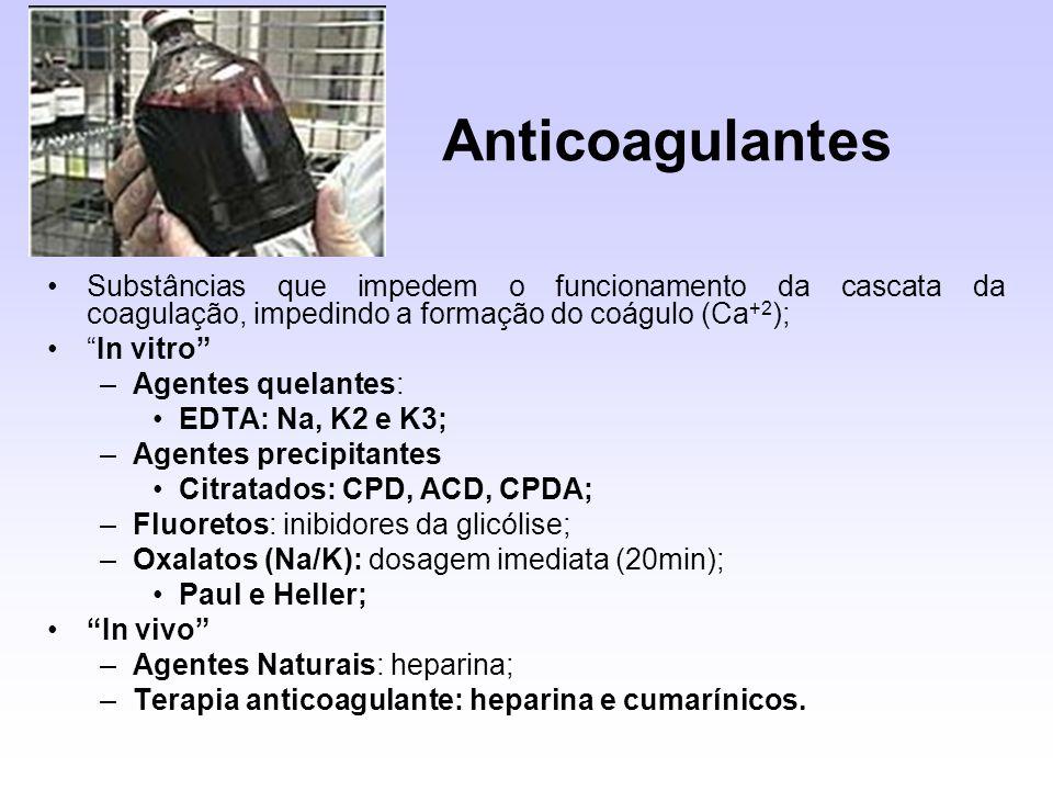 Anticoagulantes Substâncias que impedem o funcionamento da cascata da coagulação, impedindo a formação do coágulo (Ca +2 ); In vitro –Agentes quelante