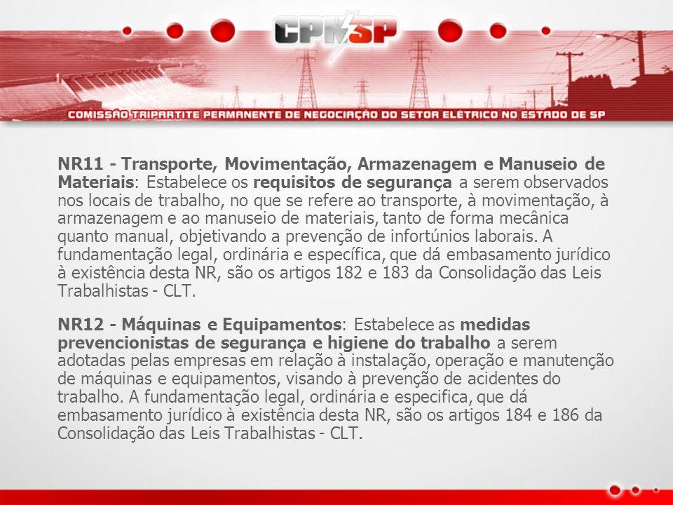 NR11 - Transporte, Movimentação, Armazenagem e Manuseio de Materiais: Estabelece os requisitos de segurança a serem observados nos locais de trabalho,