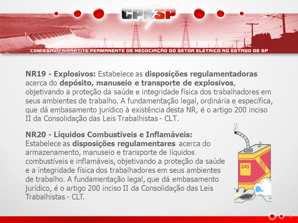 NR19 - Explosivos: Estabelece as disposições regulamentadoras acerca do depósito, manuseio e transporte de explosivos, objetivando a proteção da saúde