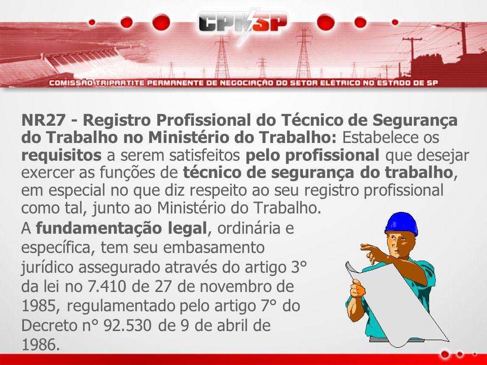 NR27 - Registro Profissional do Técnico de Segurança do Trabalho no Ministério do Trabalho: Estabelece os requisitos a serem satisfeitos pelo profissi