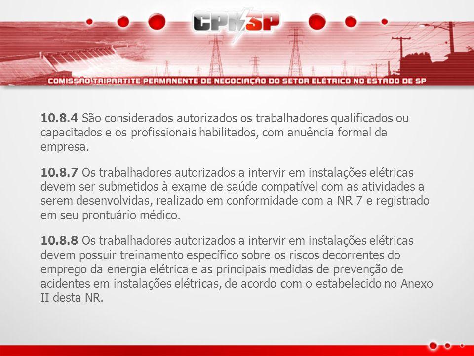 10.8.4 São considerados autorizados os trabalhadores qualificados ou capacitados e os profissionais habilitados, com anuência formal da empresa. 10.8.