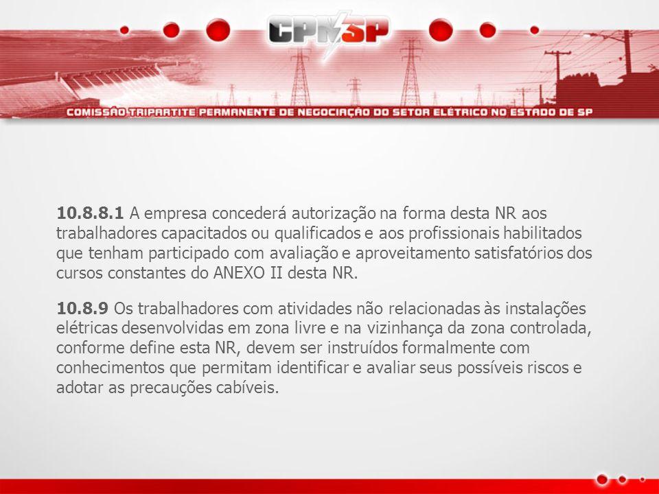 10.8.8.1 A empresa concederá autorização na forma desta NR aos trabalhadores capacitados ou qualificados e aos profissionais habilitados que tenham pa