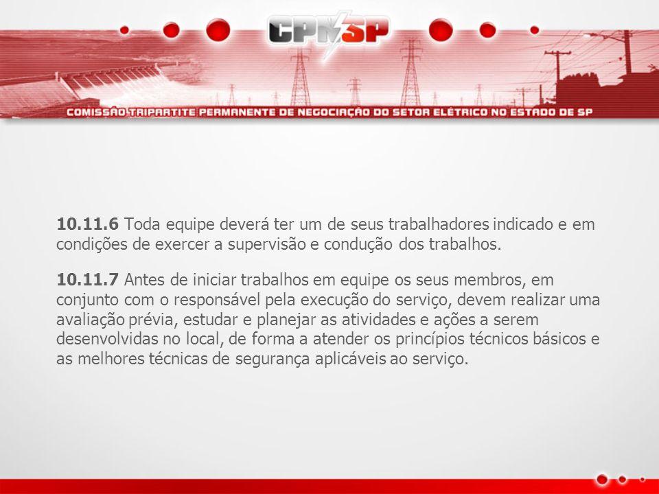 10.11.6 Toda equipe deverá ter um de seus trabalhadores indicado e em condições de exercer a supervisão e condução dos trabalhos. 10.11.7 Antes de ini