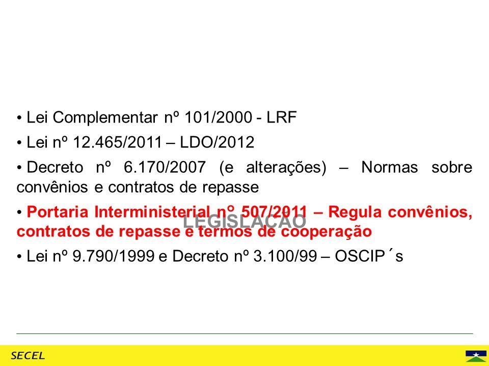 LEGISLAÇÃO Lei Complementar nº 101/2000 - LRF Lei nº 12.465/2011 – LDO/2012 Decreto nº 6.170/2007 (e alterações) – Normas sobre convênios e contratos