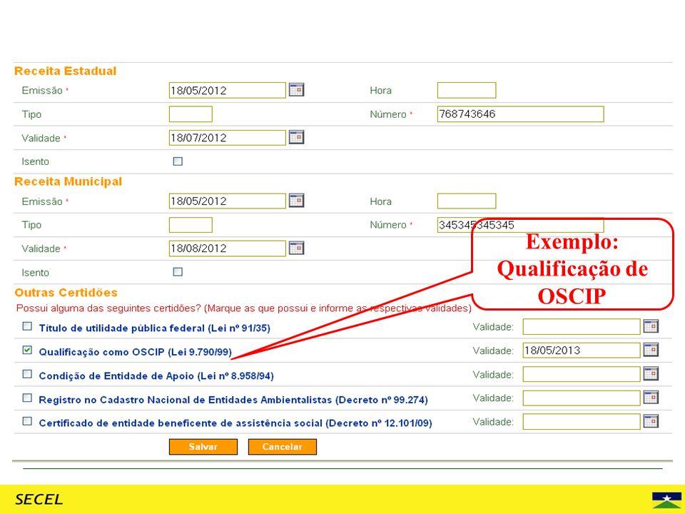 Exemplo: Qualificação de OSCIP