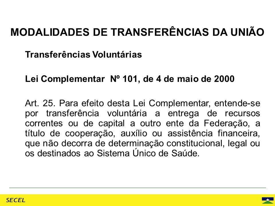 Transferências Voluntárias Lei Complementar Nº 101, de 4 de maio de 2000 Art. 25. Para efeito desta Lei Complementar, entende-se por transferência vol