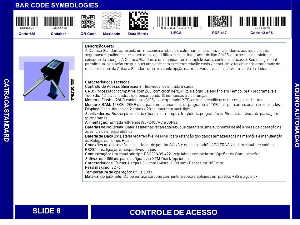 CONTROLE DE ACESSO CONTROLADO CONTROLE DE ACESSO Controle de Usuários Permissão de Acesso Acesso por horarios Numero maximo de usuários Controle de Visitantes Permissão de Acesso Acesso com acompanhante Numero maximo de visitantes Banco de dados com fotos Controle de Zonas Permissão de Acesso por Zonas Controle de Zonas Restritas Tempo de permanencia na Zona de Acesso Controle de Restaurante Permissão de Acesso SLIDE 19