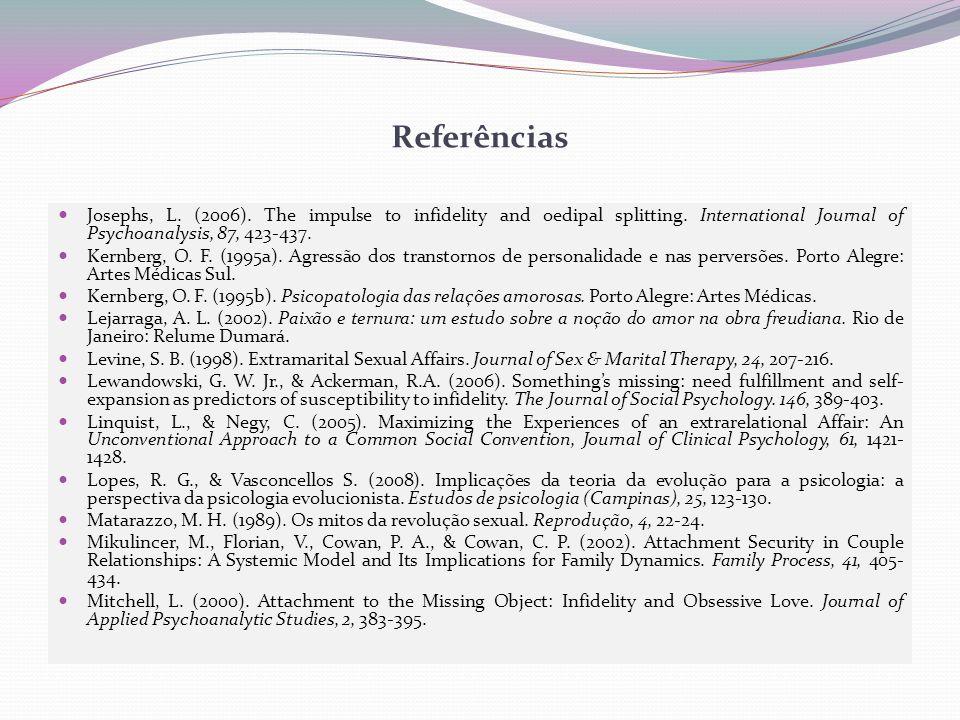 Referências Josephs, L.(2006). The impulse to infidelity and oedipal splitting.