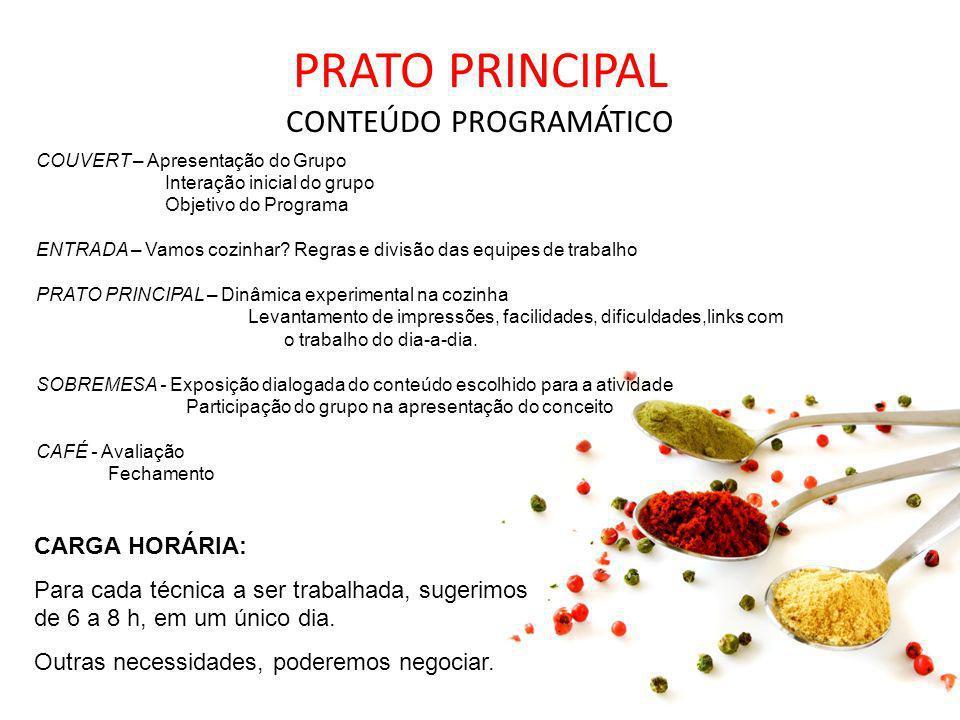 PRATO PRINCIPAL CONTEÚDO PROGRAMÁTICO COUVERT – Apresentação do Grupo Interação inicial do grupo Objetivo do Programa ENTRADA – Vamos cozinhar? Regras