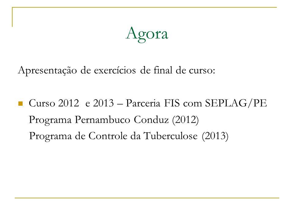 Agora Apresentação de exercícios de final de curso: Curso 2012 e 2013 – Parceria FIS com SEPLAG/PE Programa Pernambuco Conduz (2012) Programa de Contr