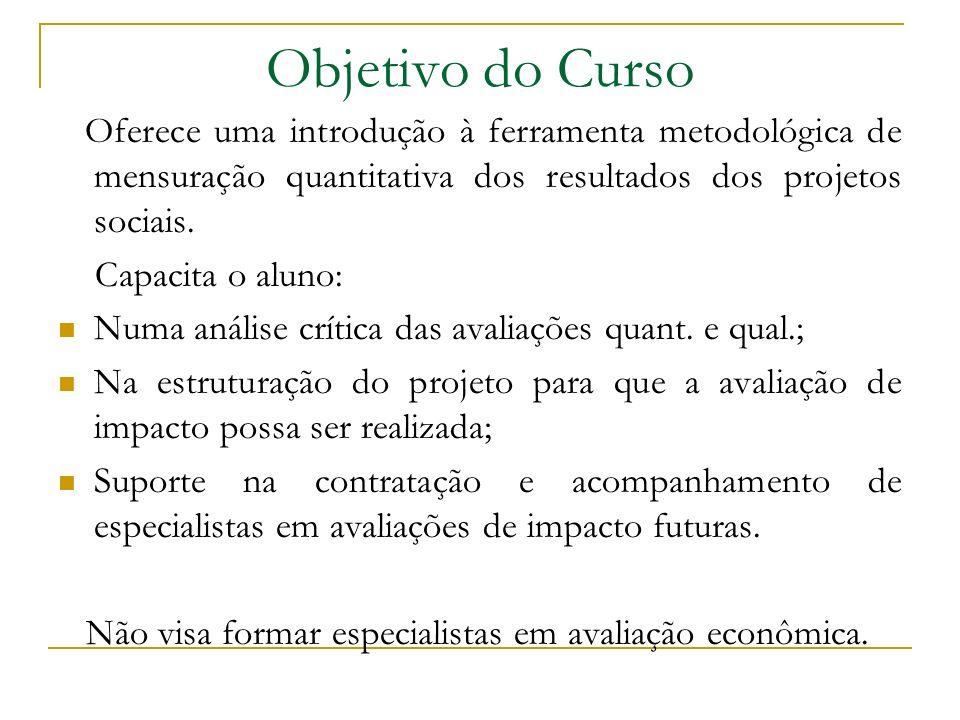 Objetivo do Curso Oferece uma introdução à ferramenta metodológica de mensuração quantitativa dos resultados dos projetos sociais. Capacita o aluno: N