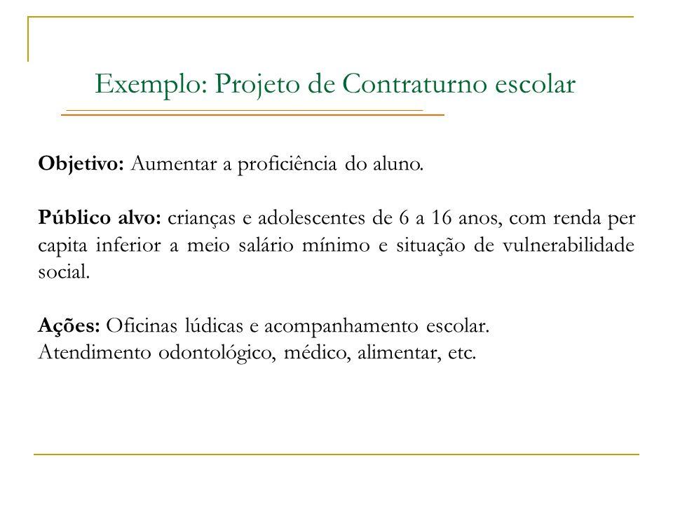 Exemplo: Projeto de Contraturno escolar Objetivo: Aumentar a proficiência do aluno. Público alvo: crianças e adolescentes de 6 a 16 anos, com renda pe