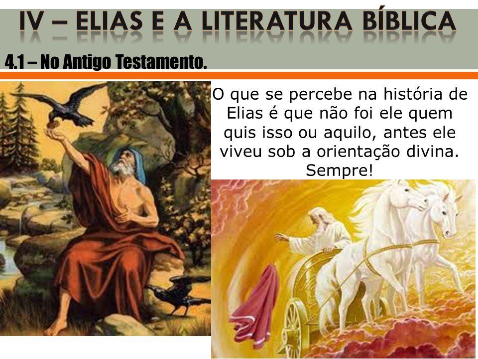 O que se percebe na história de Elias é que não foi ele quem quis isso ou aquilo, antes ele viveu sob a orientação divina. Sempre! 4.1 – No Antigo Tes