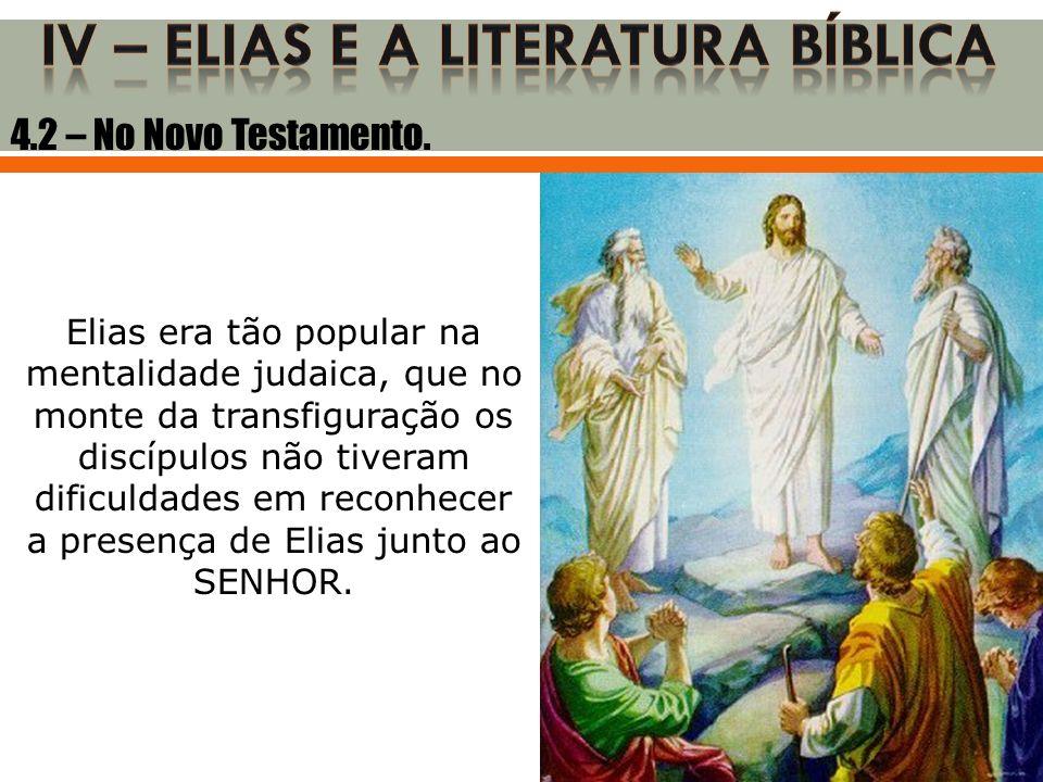 Elias era tão popular na mentalidade judaica, que no monte da transfiguração os discípulos não tiveram dificuldades em reconhecer a presença de Elias