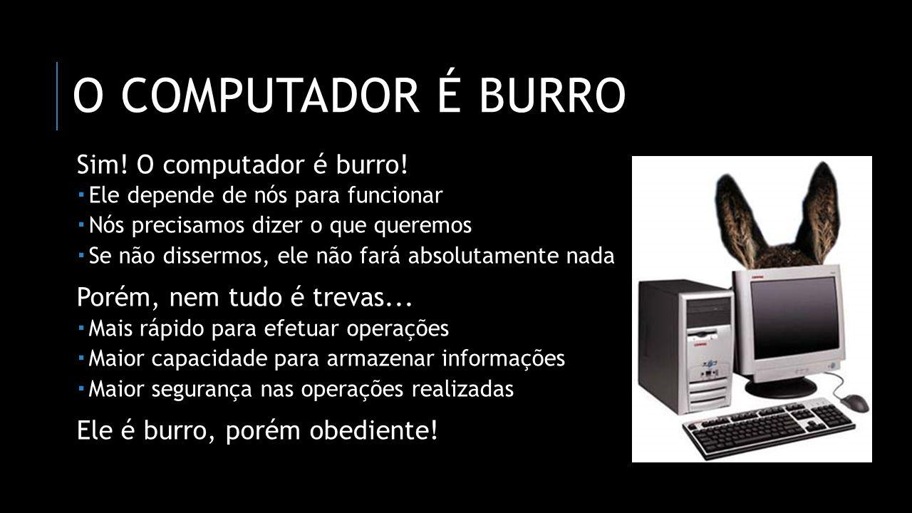 O COMPUTADOR É BURRO Sim! O computador é burro! Ele depende de nós para funcionar Nós precisamos dizer o que queremos Se não dissermos, ele não fará a