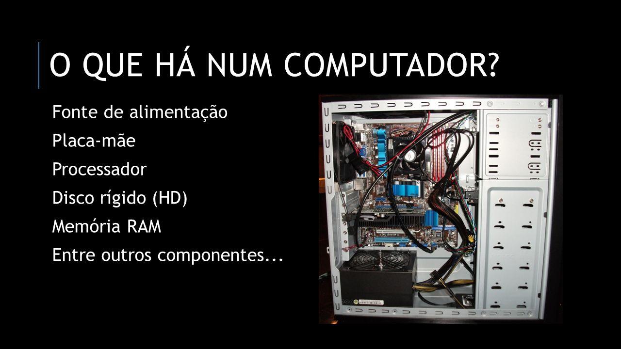 O QUE HÁ NUM COMPUTADOR? Fonte de alimentação Placa-mãe Processador Disco rígido (HD) Memória RAM Entre outros componentes...