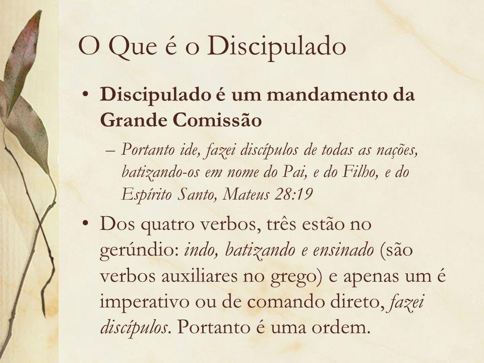 O Que é o Discipulado Discipulado é um mandamento da Grande Comissão –Portanto ide, fazei discípulos de todas as nações, batizando-os em nome do Pai,