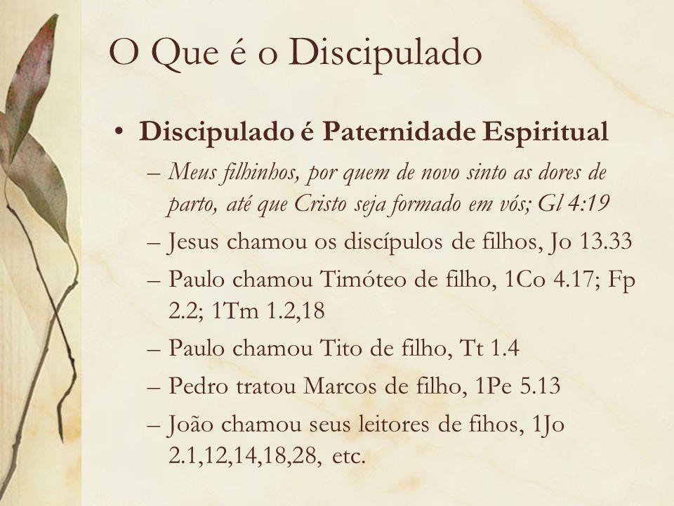 O Que é o Discipulado Discipulado é Paternidade Espiritual –Meus filhinhos, por quem de novo sinto as dores de parto, até que Cristo seja formado em v