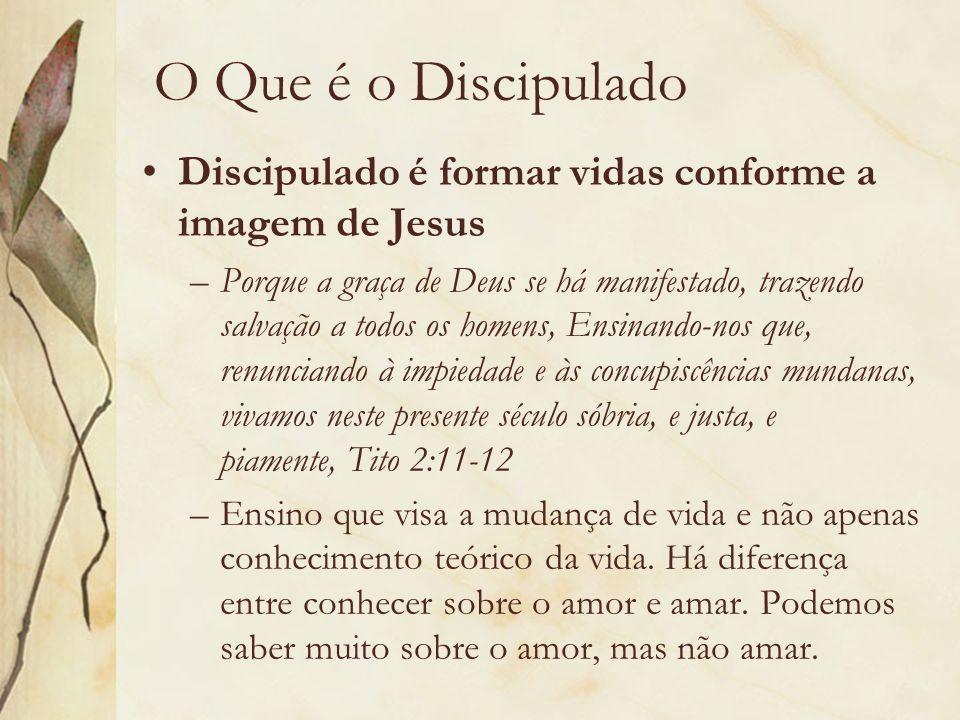 O Que é o Discipulado Discipulado é formar vidas conforme a imagem de Jesus –Porque a graça de Deus se há manifestado, trazendo salvação a todos os ho