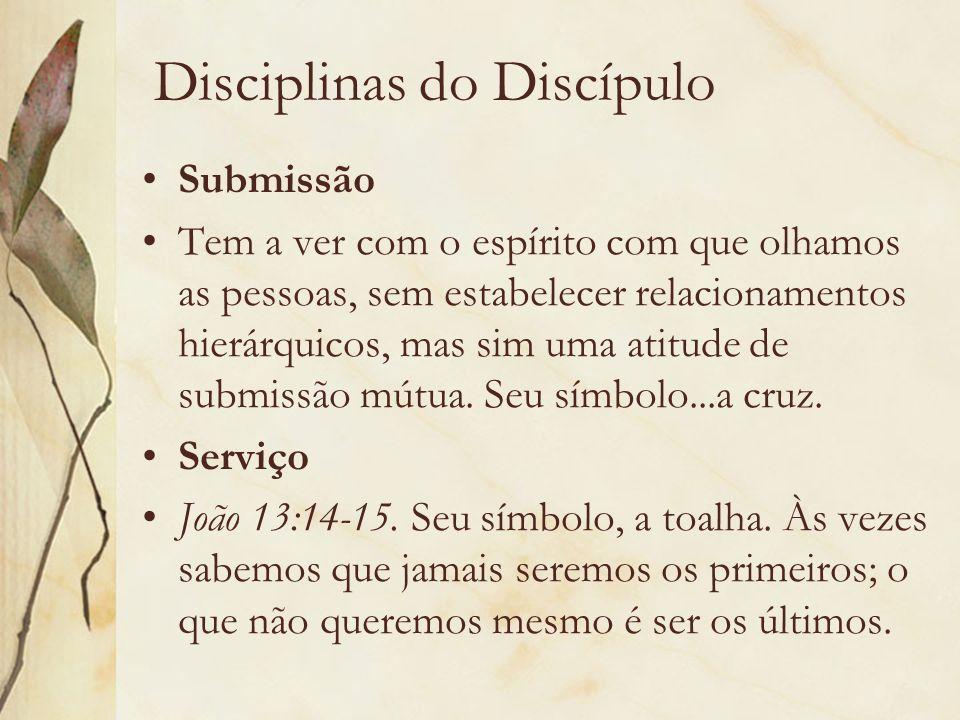 Disciplinas do Discípulo Submissão Tem a ver com o espírito com que olhamos as pessoas, sem estabelecer relacionamentos hierárquicos, mas sim uma atit