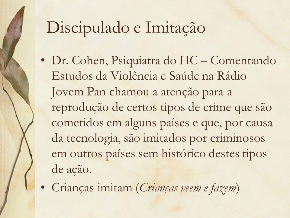 Discipulado e Imitação Dr. Cohen, Psiquiatra do HC – Comentando Estudos da Violência e Saúde na Rádio Jovem Pan chamou a atenção para a reprodução de
