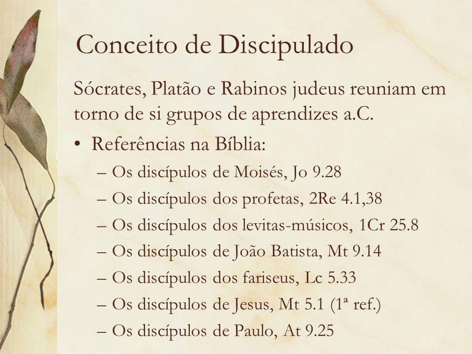 Conceito de Discipulado Sócrates, Platão e Rabinos judeus reuniam em torno de si grupos de aprendizes a.C. Referências na Bíblia: –Os discípulos de Mo