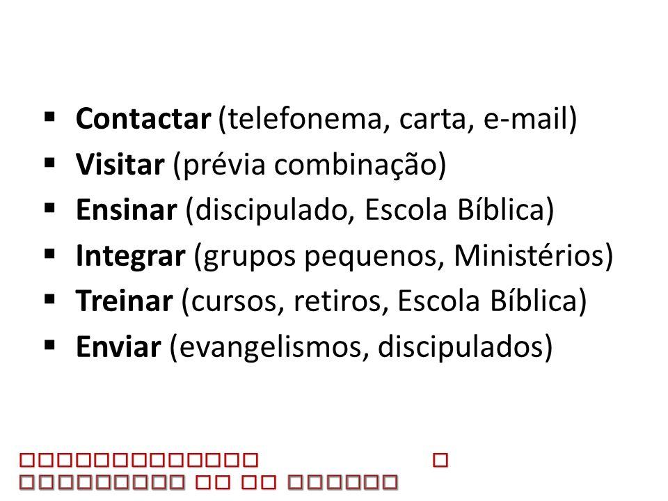 Contactar (telefonema, carta, e-mail) Visitar (prévia combinação) Ensinar (discipulado, Escola Bíblica) Integrar (grupos pequenos, Ministérios) Treina