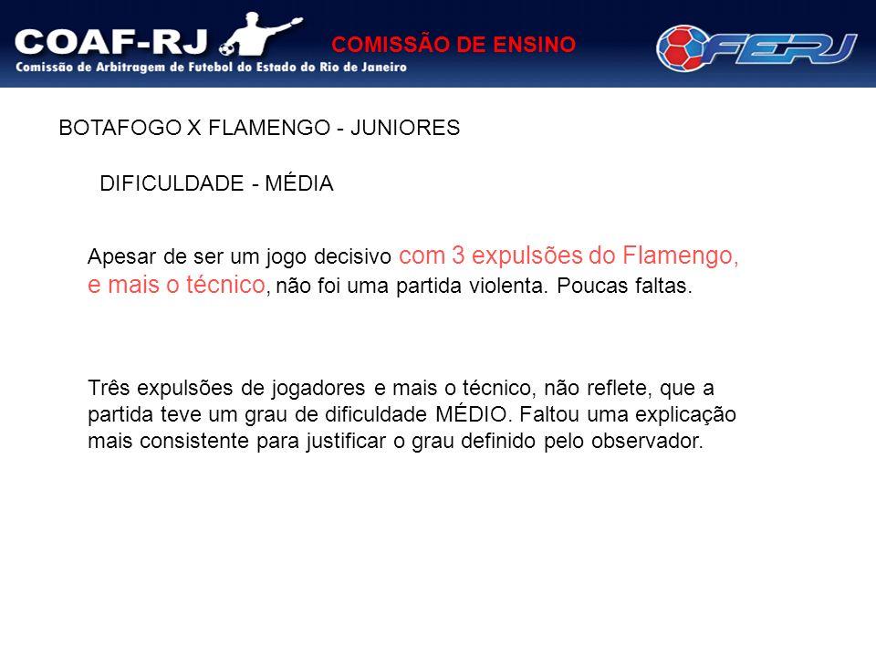 COMISSÃO DE ENSINO Apesar de ser um jogo decisivo com 3 expulsões do Flamengo, e mais o técnico, não foi uma partida violenta. Poucas faltas. BOTAFOGO