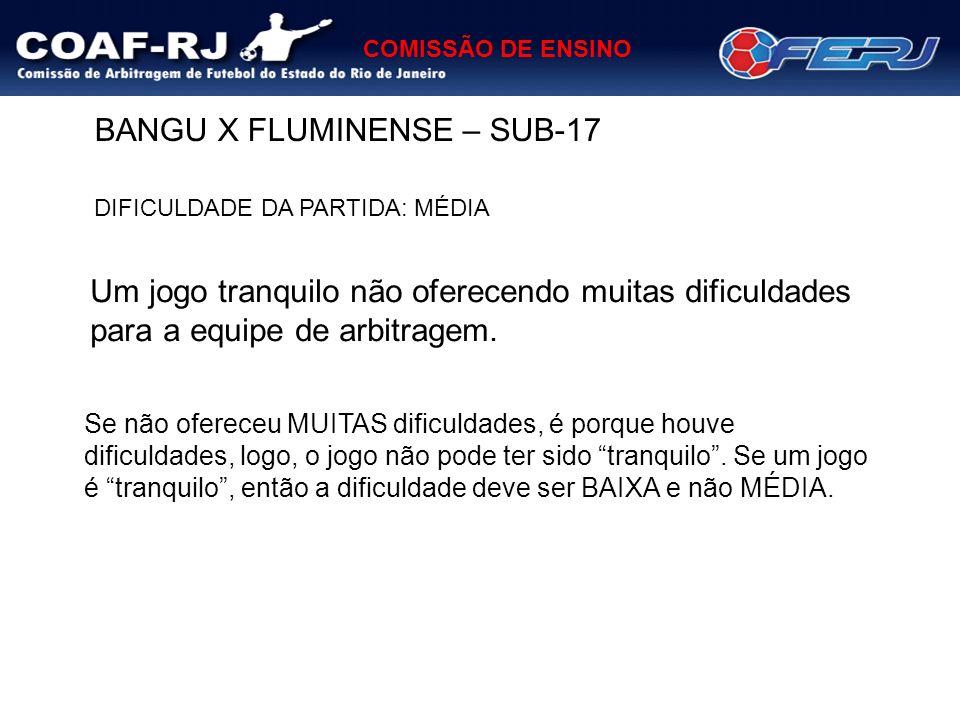 COMISSÃO DE ENSINO BANGU X FLUMINENSE – SUB-17 DIFICULDADE DA PARTIDA: MÉDIA Um jogo tranquilo não oferecendo muitas dificuldades para a equipe de arb