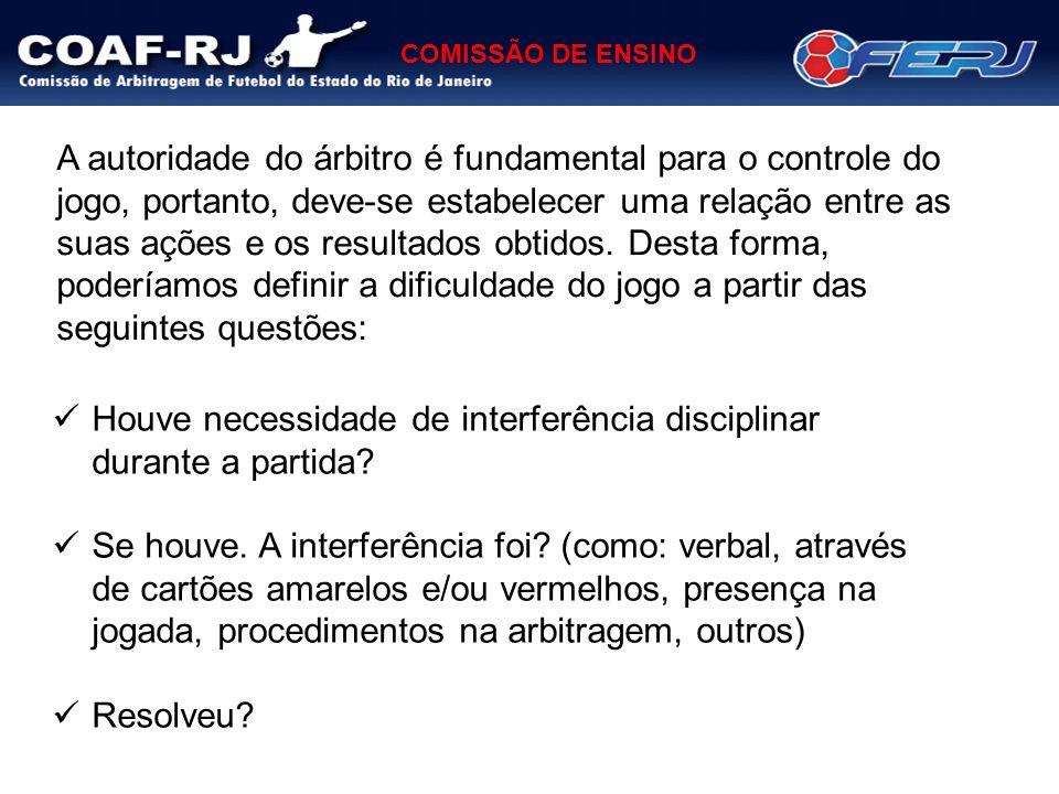 COMISSÃO DE ENSINO Houve necessidade de interferência disciplinar durante a partida? Se houve. A interferência foi? (como: verbal, através de cartões