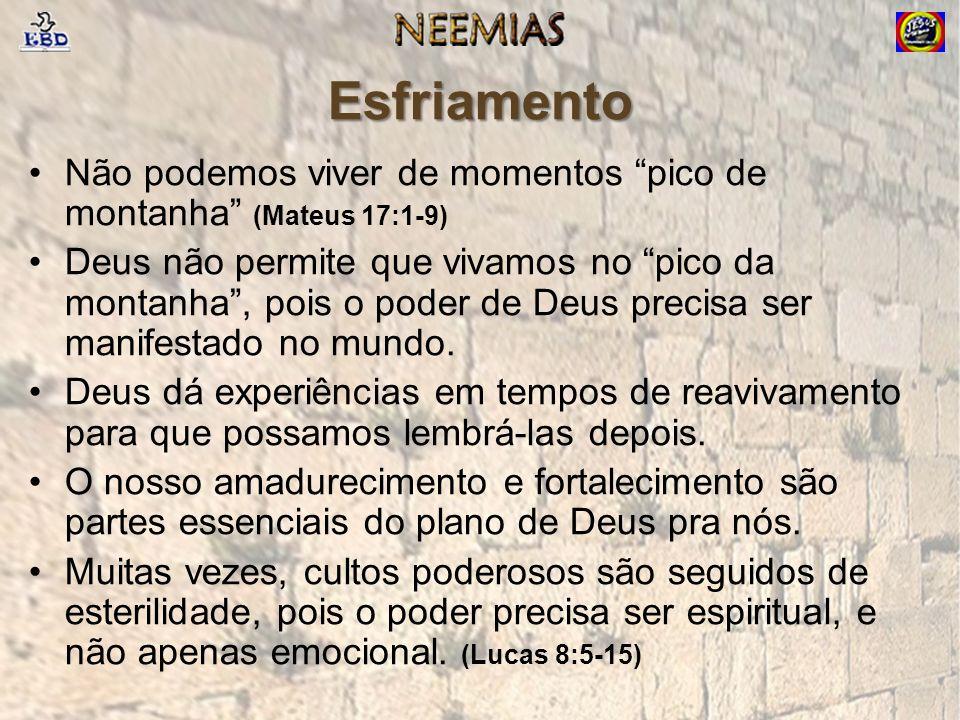 Esfriamento Não podemos viver de momentos pico de montanha (Mateus 17:1-9) Deus não permite que vivamos no pico da montanha, pois o poder de Deus precisa ser manifestado no mundo.