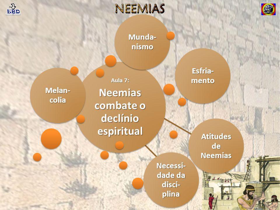 Aula 7: Neemias combate o declínio espiritual Melan- colia Esfria- mento Atitudes de Neemias Necessi- dade da disci- plina Munda- nismo