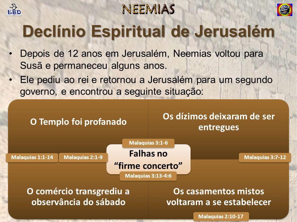 Declínio Espiritual de Jerusalém Depois de 12 anos em Jerusalém, Neemias voltou para Susã e permaneceu alguns anos.