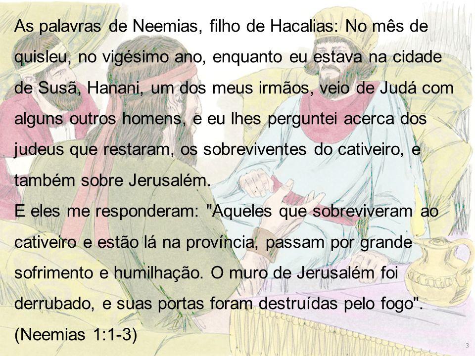 As palavras de Neemias, filho de Hacalias: No mês de quisleu, no vigésimo ano, enquanto eu estava na cidade de Susã, Hanani, um dos meus irmãos, veio