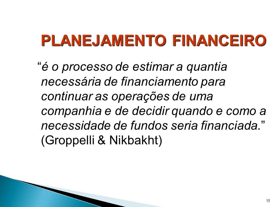 15 PLANEJAMENTO FINANCEIRO é o processo de estimar a quantia necessária de financiamento para continuar as operações de uma companhia e de decidir qua