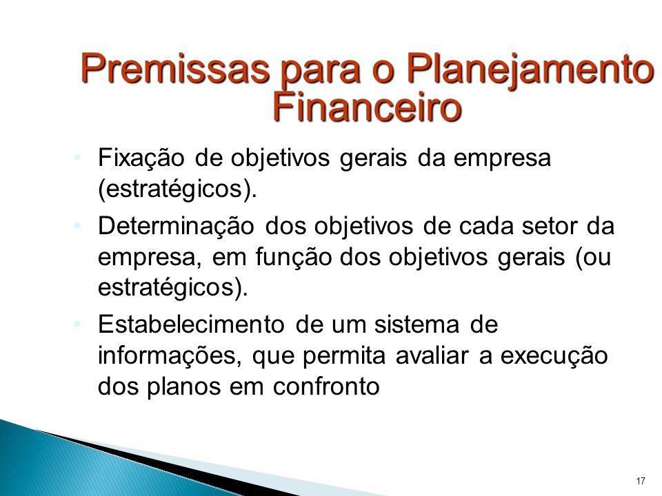 17 Premissas para o Planejamento Financeiro Fixação de objetivos gerais da empresa (estratégicos). Determinação dos objetivos de cada setor da empresa