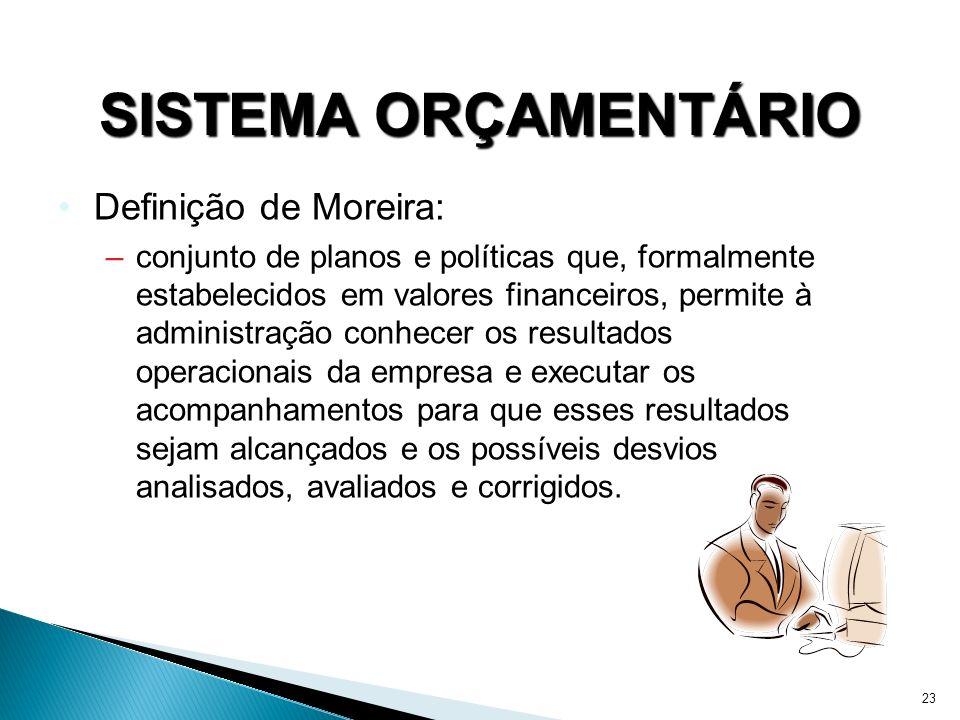 23 SISTEMA ORÇAMENTÁRIO Definição de Moreira: –conjunto de planos e políticas que, formalmente estabelecidos em valores financeiros, permite à adminis