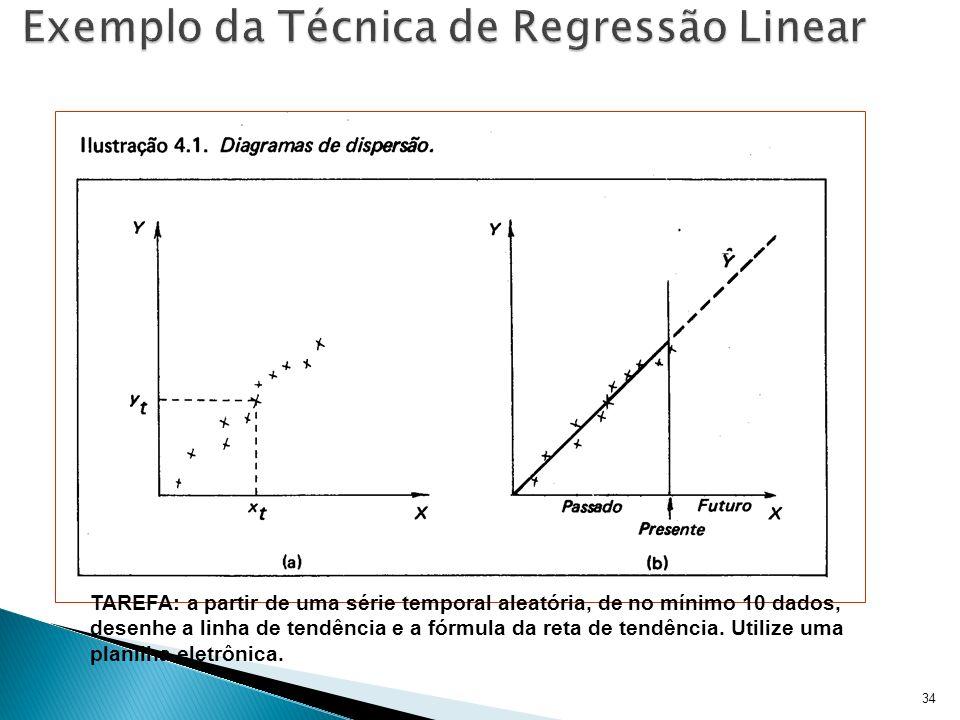34 TAREFA: a partir de uma série temporal aleatória, de no mínimo 10 dados, desenhe a linha de tendência e a fórmula da reta de tendência. Utilize uma