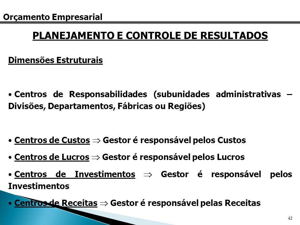 42 Orçamento Empresarial Dimensões Estruturais Centros de Responsabilidades (subunidades administrativas – Divisões, Departamentos, Fábricas ou Regiõe