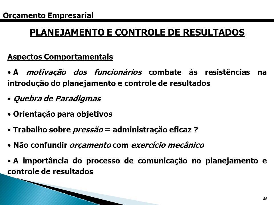 46 Orçamento Empresarial Aspectos Comportamentais A motivação dos funcionários combate às resistências na introdução do planejamento e controle de res