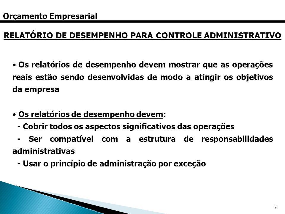 54 Orçamento Empresarial RELATÓRIO DE DESEMPENHO PARA CONTROLE ADMINISTRATIVO Os relatórios de desempenho devem mostrar que as operações reais estão s
